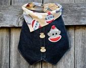 Sock Monkey… Handmade Baby Bib