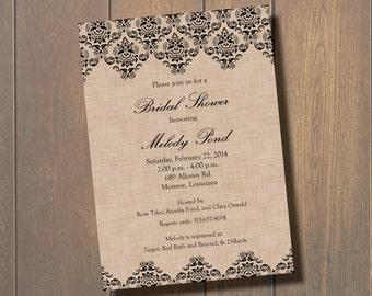 Burlap Lace Bridal Shower Invitation