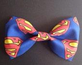Superman Hair Bow/Clip-on Bow Tie - Medium