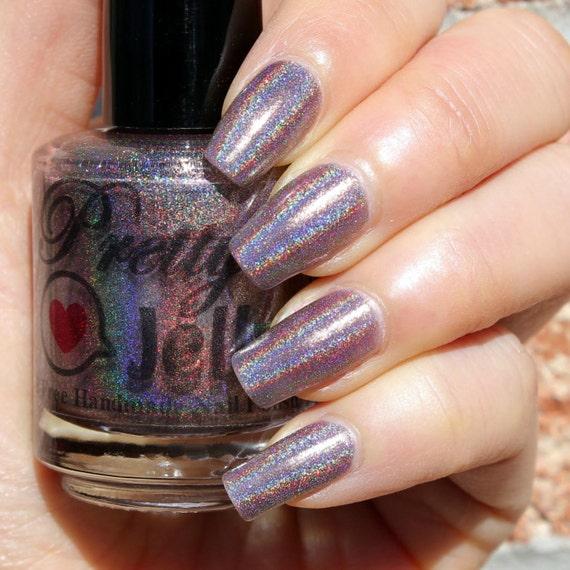 Purple Taupe Nail Polish: Holographic Nail Polish, Holo Nail Lacquer, Indie Nail