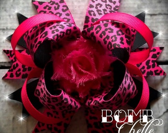 Hot Pink Leopard Bow