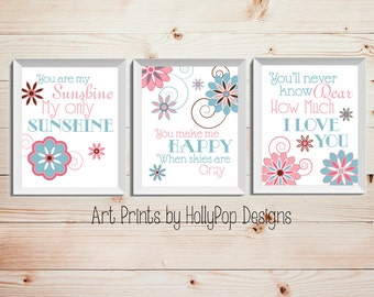 Baby Girl Wall Decor You are My Sunshine Art Prints Nursery Trio Pink Blue Nursery Art Set of 3 Prints Childrens Wall Art Girls Room Decor