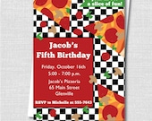 Pizza Birthday Party Invitation - Pizza Party Invite - Digital Design or Printed Invitations - FREE SHIPPING