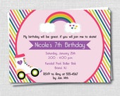 Rainbow Roller Skate Birthday Invitation - Roller Skating Themed Party - Digital Design and Printed Invitations - FREE SHIPPING