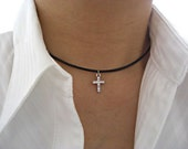 Crystal Rhinestone Silver Cross Pendant, Black/Dark Brown Leather, Black Velvet Ribbon Choker, Gift for her
