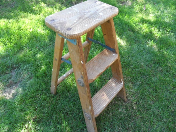 Old Fashioned Wood Step Stool Rustic Folding Ladder 24