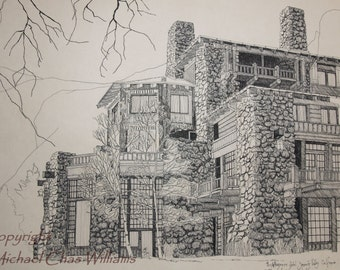 10x16  Art Print of Yosemite's Ahwahnee Hotel from a  Pen and Ink Original
