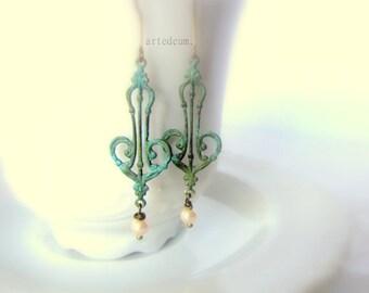 Vintage Verdigris earrings Antique earrings Patina Vintage romantic earrings in green blue