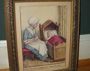 """Vintage Nursery Rhyme Print in Original Mat & Frame, Pre-WWII - Hush-a-Bye Baby Lyric """"But I by your cradle, dear baby, will keep."""""""