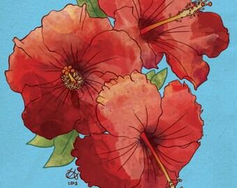 """Hibiscus Print 8x10"""""""