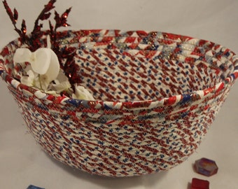 Americana, red, white and blue coiled fabric bowl/basket