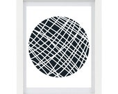 Circle Art, Digital Illustration, Modern Home Decor, Yarn Ball, Minimalist Art, Craft Room Art, 8 x 10 Print
