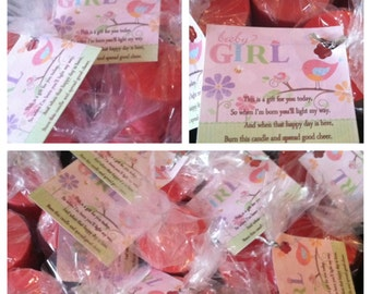 """Girl's Tweet Baby Tweet Themed Triple Scented """"Any Fragrance"""" Soy Votive Candle Baby Shower Favors (Set of 3)"""
