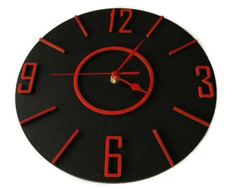 Large round wall clock for home office Black Red wall decoration