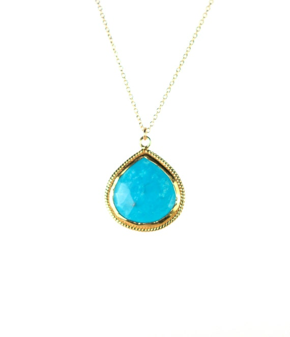 Turquoise necklace - gold lined turquoise - layering necklace - a 22k gold lined fancy turquoise drop on a 14k gold vermeil chain
