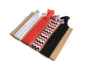 Elastic Hair Ties Red White and Black Chevron Yoga Hair Bands