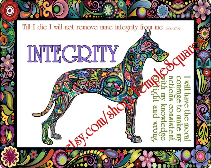 """PRINTABLE Young Women Values Personal Progress """"INTEGRITY"""" 4x6, 5x7, and 8x10"""