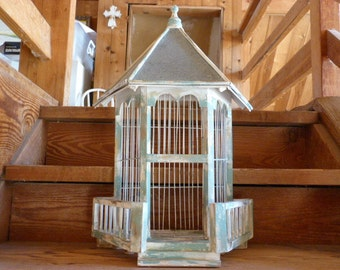 Birdcage / birdhouse / hand painted birdhouse / heavy distressed birdcage / wall hanging birdcage / flat backed distressed birdcage