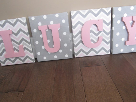 Items similar to wall canvas letters nursery decor for Baby room decoration letters