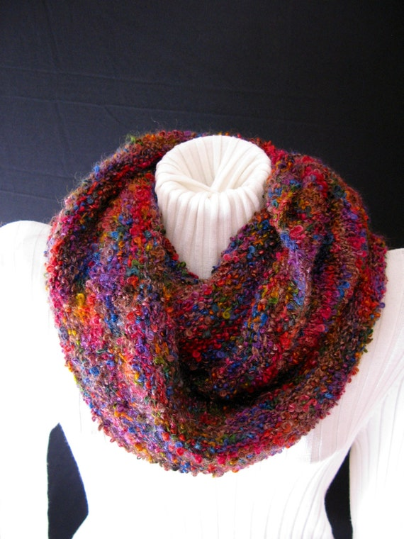 Items similar to Infinity Scarf Hand Knit in Mohair and ...