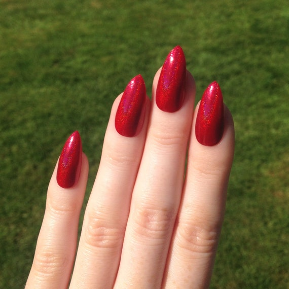 Red Stiletto Nails: Holographic Red Stiletto Nails Nail Designs By