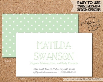 Business Card Template - Sage Green and White Dots-  DIY Editable Word Template, Instant Download, Printable