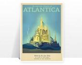 Retro Travel Poster - Disney - Atlantica - MANY SIZES - The Little Mermaid Under the Sea Ariel Magic Kids Children Film Typography Art Print