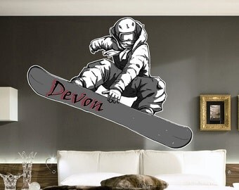 Snowboarder Vinyl Wall Decal with Custom Text
