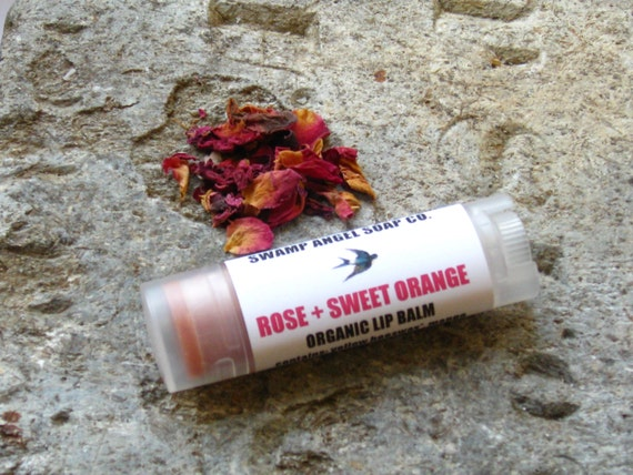 Rose Sweet Orange Lip Balm // Lip Tube // Essential Oils // Botanical ...
