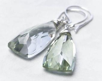 Green Amethyst Earrings, Prasiolite Earrings. Drop Earrings. February Birthstone. Recycled Silver Earrings
