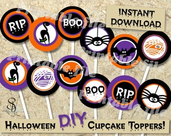 Halloween cupcake toppers DIY instant download