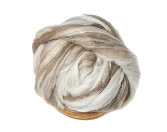 Mixed Blue Faced Leicester BFL Soft Roving Wool Spinning Undyed Fiber - 1 lb