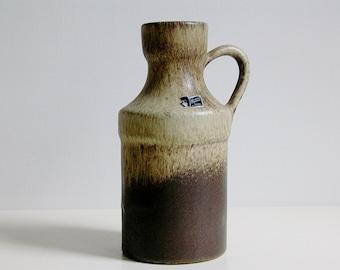 Vintage Silberdistel Fayencen handmade handled vase, West Germany WGP