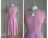 1940's rose pink , day dress, WW2 , Crepe,vintage dress, lace , tea dress,app size 10 , By dotty's Vintage on etsy