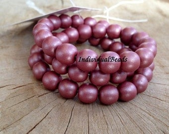 Pressed Beads round 4 mm Mouve satin, Czech glass pressed round beads 100 pcs