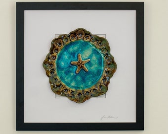 Unique 3D pottery seashell plate framed wall art