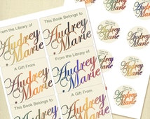 Custom Book Plates Printable, Personalized Rainbow Script Book Plates Labels or Stickers