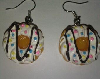 Cute and funny kawaii food donut earrings