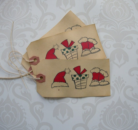 Rustic christmas hang tag santa boots and hat country holiday Country christmas gifts to make