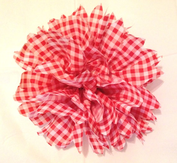 Gingham flowers red white check vinyl by