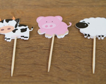 Farm animals cupcake toppers (set of 18)