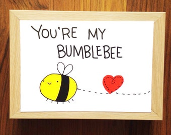 You're My Bumblebee love postcard Valentines card Valentine card