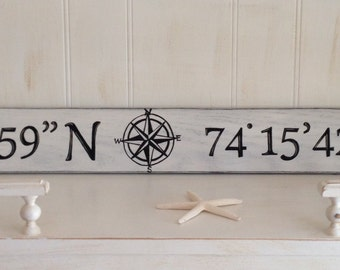 Latitude and Longitude Wood Sign, Nautical Coordinates Wood Sign, Handpainted Longitude and Latitude Sign, Nautical Handpainted Wood Sign