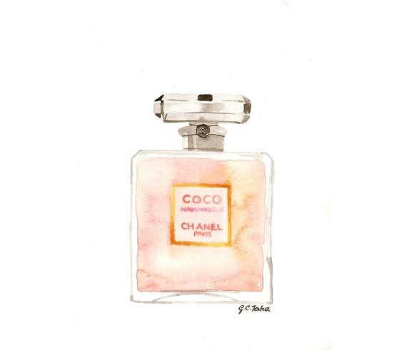 chanel coco mademoiselle parfum watercolor perfume bottle. Black Bedroom Furniture Sets. Home Design Ideas