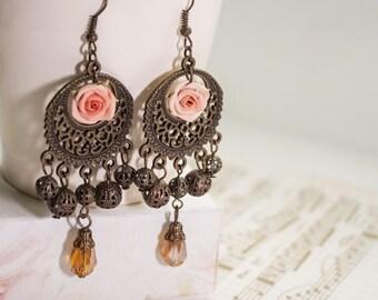 Vintage earrings, flowers earrings, vintage earrings , jewelry , bronze, polymer clay handmade