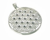 SALE! Sacred Geometry Flower of Life Pendant with Blue Sapphires set in 925 Sterling Silver