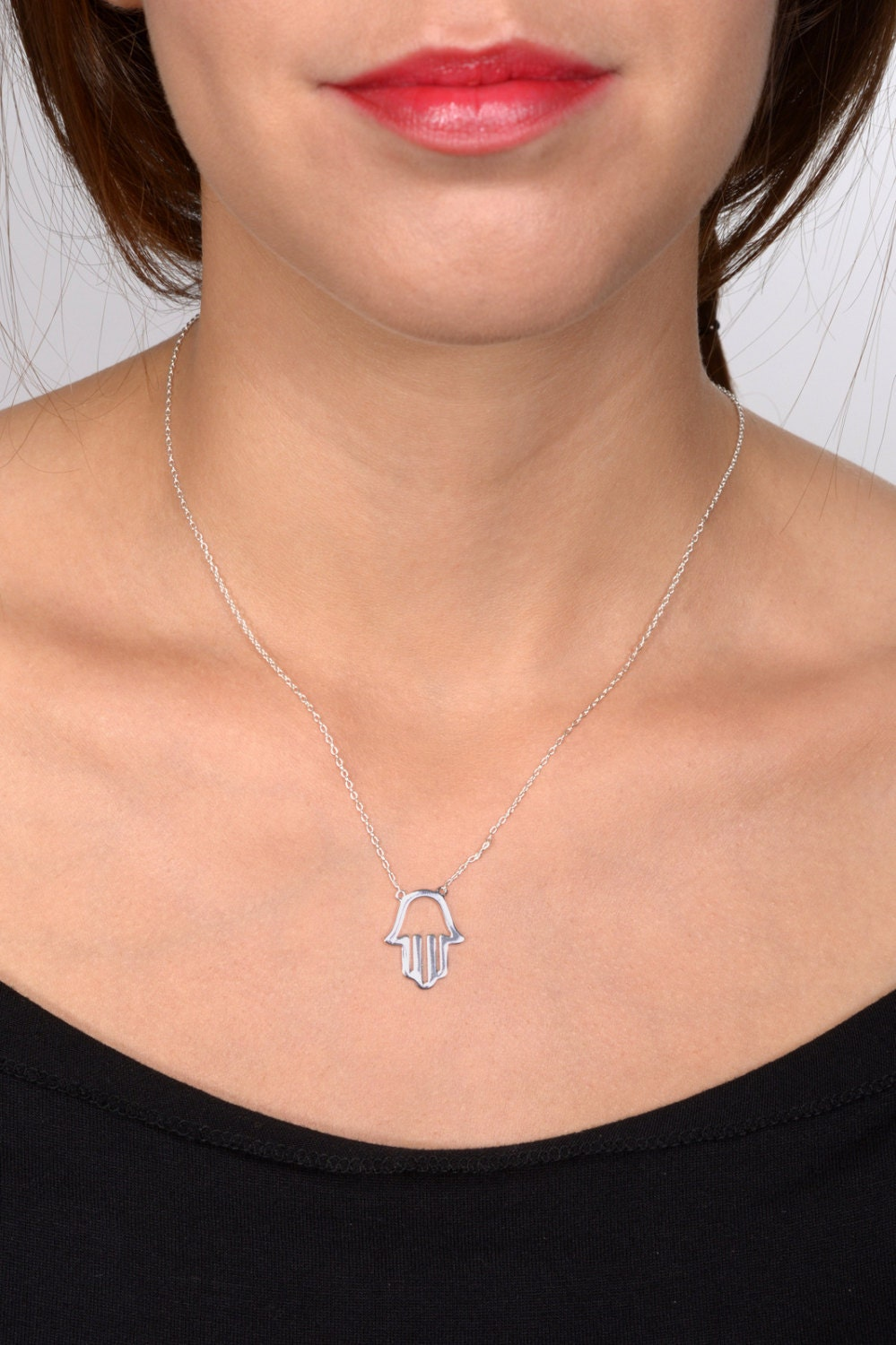 Sterling Silver Classic Hamsa Necklace, Hand Made Jewelry
