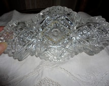 Vintage NuCut Glass Pickle Boat Relish Dish Candy Dish