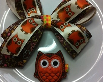 SALE! Price reflects 30% off- 3 in 1 hair bow-owl hair bow-owl clip-owl felty-owl boutique bow