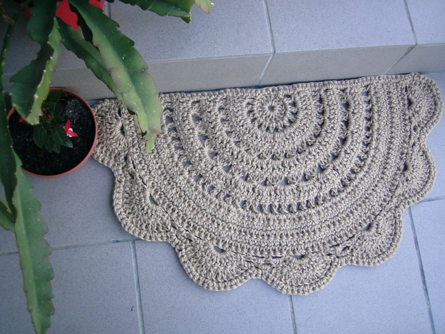 Doormat Half Circle Crochet Jute Door Rug Kitchen Rug